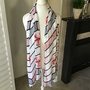"""Lobster Nautical Theme Scarf Long 68"""" Very Soft"""